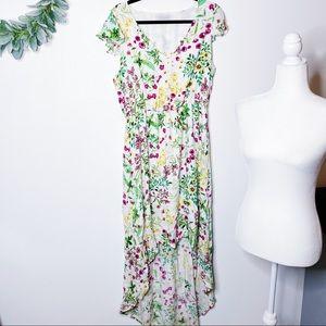 Wayf Floral High Low Midi Dress